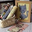 レトロで 優しい タッチが かわいい 5匹の キュートな ネコちゃん はぎれ布 5枚セット 綿麻製 ハンドメイド インテリアにの商品画像