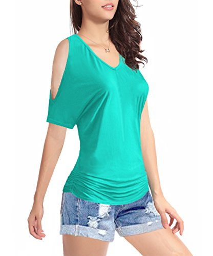 Women's Short Sleeve Shirt V-Neck Drape Waist Blouse Tops (Medium, LightGreen)