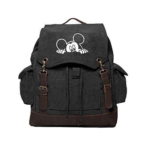 (Mickey Mouse Peeking Canvas Rucksack Backpack with Leather Straps, Black &)