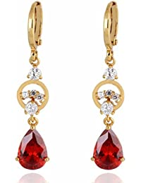 Charming Smooth 18k Gold Plated Inlay Teardrop Cubic Zirconia Dangle Drop Earrings for Women