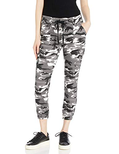 Cover Girl Junior's Cargo High Waisted Slim Fit Solid Color Skinny Drawstring, Gray Camo, Small