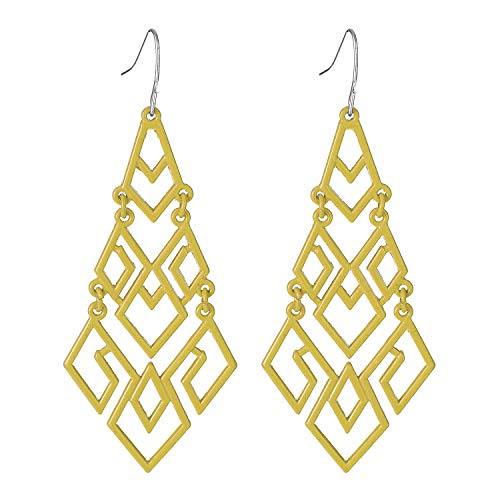 (D EXCEED Women's Yellow Chandelier Drop Earrings Gift Wrapped Fashion Gold Cutout Tiered Dangle Drop Earrings)