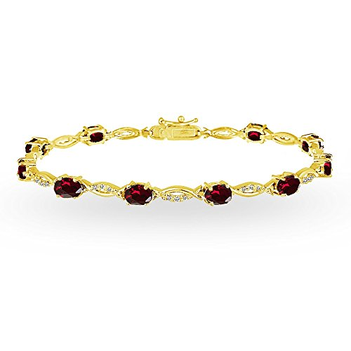 (GemStar USA Yellow Gold Flashed Sterling Silver Created Ruby and White Topaz Oval-Cut Swirl Tennis Bracelet)