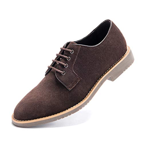 (Men's Suede Leather Oxford Shoes Casual Lace up Dress Shoes D Brown 10 D (M) US)