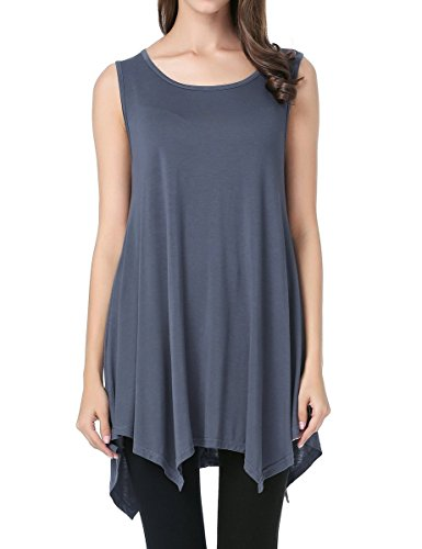JollieLovin Womens Plus Size Loose-fit Sleeveless T-Shirt Tank Tunic Top(3X, Deep Gray)]()