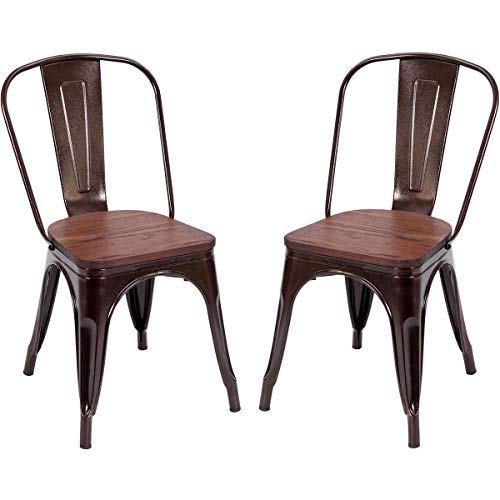 Costway Tolix Style Dining Chairs Industrial Metal Stackable Cafe Side Chair w/Wood Seat Set of 2 (Copper)