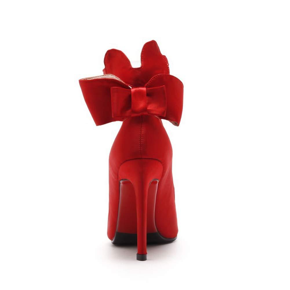 Frauen Pumpen High Heels Satin Mode sexy flachen Mund Mund Mund Schuhe ein Wort Stilett Schmetterling Hochzeit Schuhe 2385f1