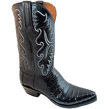 Men's Lucchese Classic Cowboy Boot E2147.54 Black Caiman Ultra Belly Hand-Made Black bufallo E width