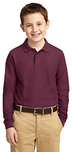 Port Authority Youth Long Sleeve Silk Touch Polo  Burgundy  Large