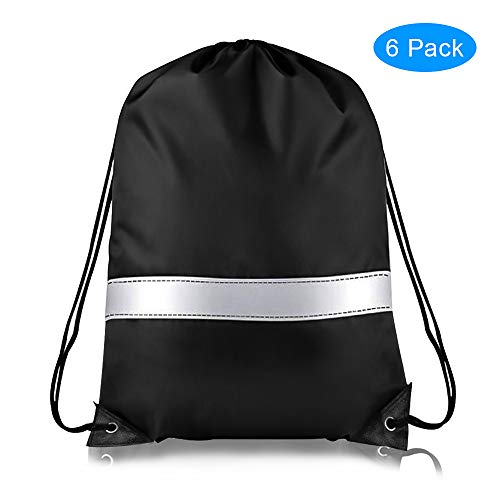 Drawstring Backpack Bag- Reflective Strip Bags for Travel, Sport, Gym, Hiking -