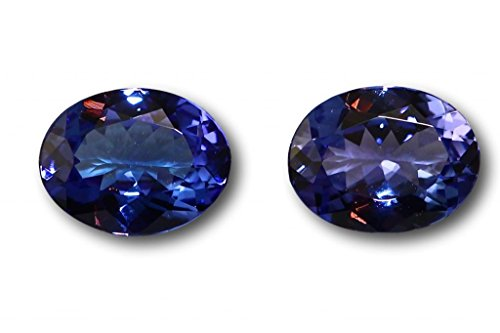 Tanzanites véritables en paire 2,95 carats 8,4 x 6,5 x 3,8 & 8,4 x 6,5 x 3,7 mm