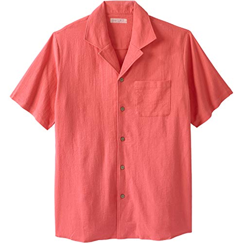 Gauze Camp Shirt - KingSize Men's Big & Tall Gauze Cotton Camp Shirt, Melon Tall-4XL