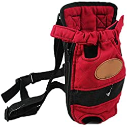 Breathable Pet Dog Carrier Backpack - Pet Front Carrier Bag Head and Leg Out Portable Convenient Lightweight,Airline Pet Carrier Small Medium Cat Dog Bag,Purplered,L