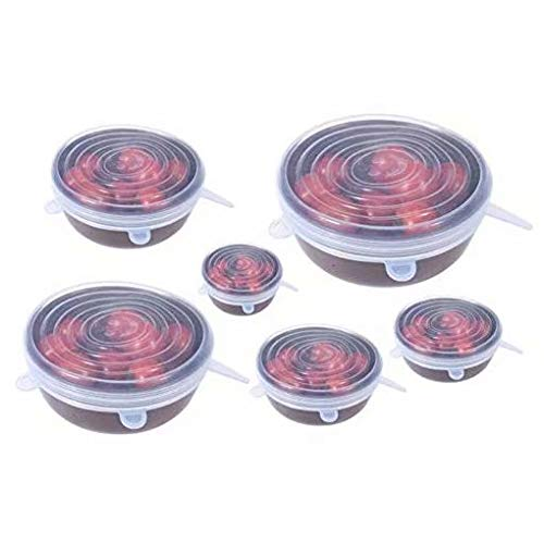 piatti utensili da cottura per conservare alimenti per ciotole Set di 6 coperchi estensibili in silicone copertura estensibile durevole Sandin