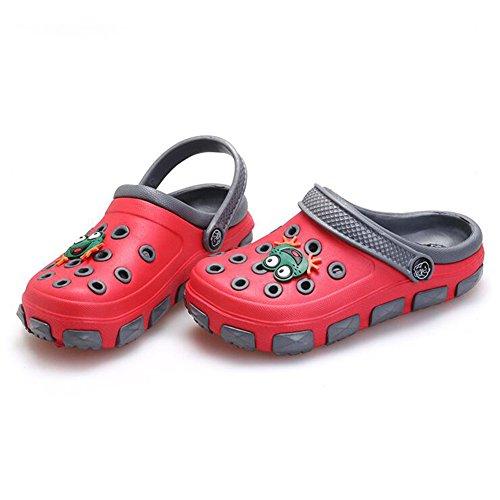 Highdas Verano Chicas Boys EVA sandalias de playa niños Children Zapatos por Chicas Boys Antideslizante Sandalias Infantil niños Children Dibujos animados Zapatos Rojo+Gris