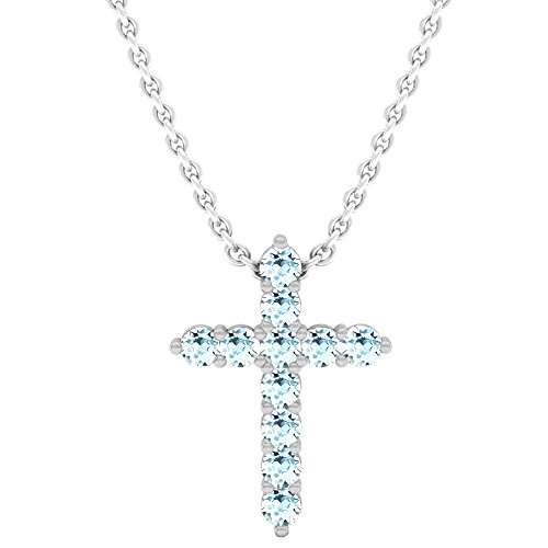 Dazzlingrock Collection 18K Round Aquamarine Ladies Cross Pendant (Silver Chain Included), White Gold