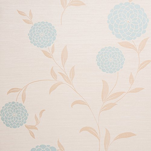 Floral Wallpaper Beige - Pom Pom Beige/Blue Floral Vinyl Wallpaper for Walls - Double Roll - By Romosa Wallcoverings LL7552