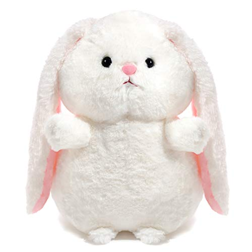 Winsterch Fluffy Bunny Plush Stuffed Animal Rabbit Toy Gifts Baby Doll,White Bunny Plush,12 inches
