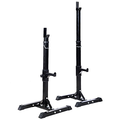 Pair of Adjustable Standard Solid Steel Squat Stands Barbell Free Press Bench TKT-11 by TKT-11
