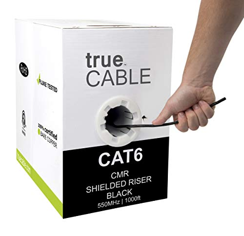 (Cat6 Shielded Riser (CMR), 1000ft, Black, 23AWG Solid Bare Copper, 550MHz, ETL Listed, Overall Foil Shield (FTP), Bulk Ethernet Cable, trueCABLE)