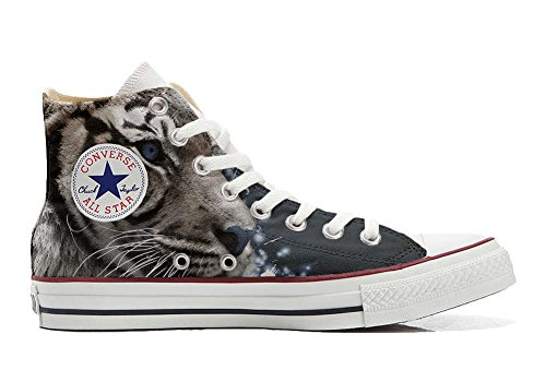Converse All Star Customized - zapatos personalizados (Producto Artesano) con el tigre blanco