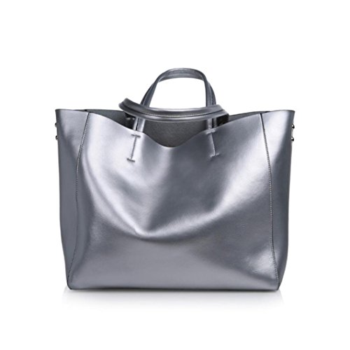 Compia Women's New Fashion Design Large Soft Leather Tote Shoulder Bag Large Capacity Shopping Bag (Silver) by Compia