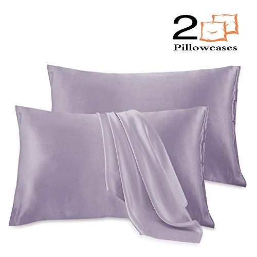 Leccod 2 Pack Silk Satin Pillowcase for Hair and Skin Cool Super Soft and Luxury Pillow Cases Covers with Envelope Closure (Lilac Purple, Standard: 20x26)