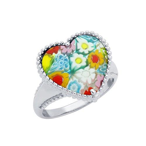 Heart Shaped Millefiori Murano Glass Ring (6) (Millefiori Glass Shaped)