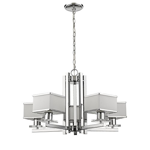 Chloe Lighting CH820039CM26-UP5 Contemporary 5 Light Chrome Finish White Opal Glass Chandelier 26 Wide, 26.1 x 26.1 x 16.75
