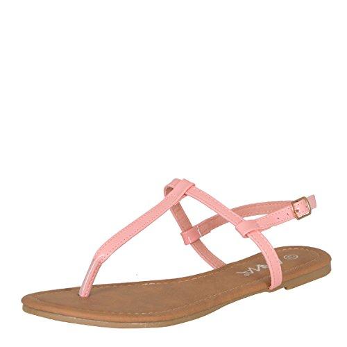 ANNA Womens Open Toe T-Strap Slingback Gladiator Flip Flops Flat Slippers Sandal Pink UGfYmB3J