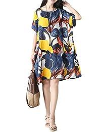 Mordenmiss Women's Summer Short Sleeve Abstract Printing Dress