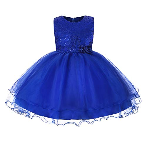 - JiaDuo Baby Girl Lace Mesh Tutu Dress Sequin Bow Toddler Princess Gown (3-4 Years, Royal Blue)