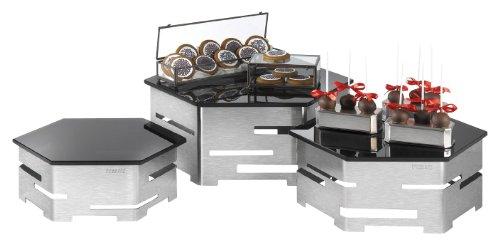 Hexagon Buffet - Rosseto SK012 Stainless Steel and Black Glass 6-Piece Hexagon Buffet Riser Kit