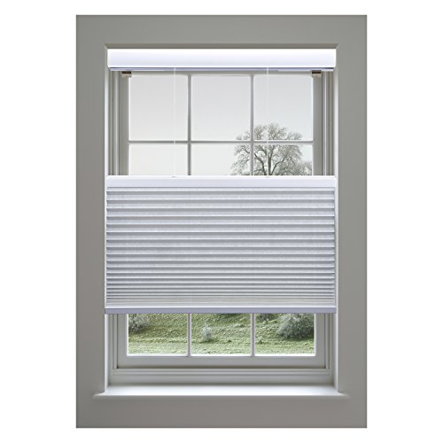 Cellular Window Shade - Linen Avenue Custom Cordless 35 W x 54 to 60 H Crystal Top Down Bottom Up (TDBU) Light FIltering Cellular Shade
