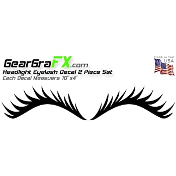 Eyelash Black Decal Set for VW Mini Coopers Dodge Neon and Others