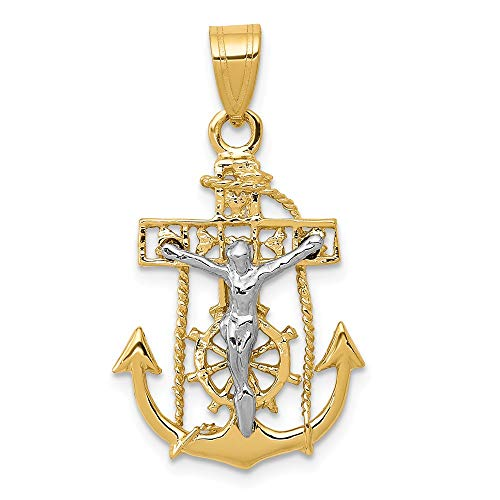 - 14k Yellow Gold Mariners Cross Pendant