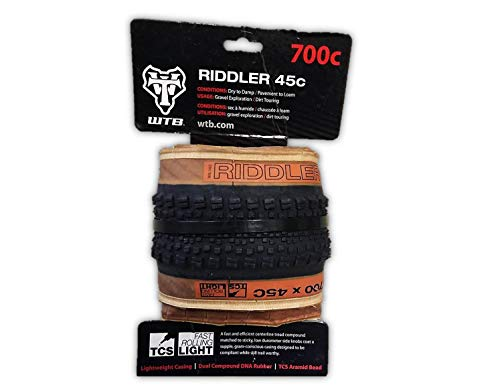 WTB Riddler 700x45 TCS Light Fast Rolling Tire, Gravel CX Adventure Bikepacking - Pick Your Color! (Tan Sidewall)