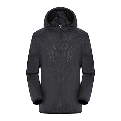 Jacket Black Travel (Lanbaosi Women's Lightweight Windbreaker Skin Jacket Rain Coat Travel Hoodie Outwear)
