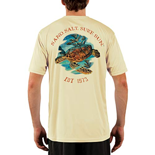 (SAND.SALT.SURF.SUN. Sea Turtle Men's UPF 50+ Short Sleeve T-Shirt Medium Pale Yellow)