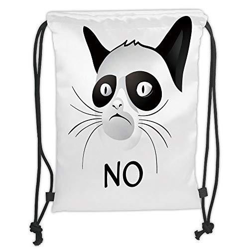 (New Fashion Gym Drawstring Backpacks Bags,Animal Decor,Cat Face Portrait Says No Grumpy Social Character Kitty Domestic Artful Image,Black White Soft Satin,Adjustable String)