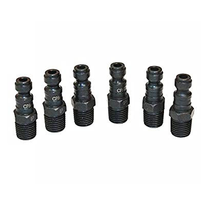 """Interstate Pneumatics CPA441 Air Hose Quick Disconnect Coupler Plug 1/4"""" X 1/4"""" MPT Male Thread Automotive Standard Series Type Black Color - Steel (6 pack)"""