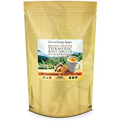 Premium Organic Ground Turmeric Root Powder with Curcumin, 8 oz, for Brain, Body, and Beauty Health Supplement