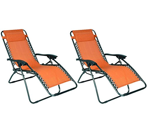 Outdoor Patio Light Weight Lounge Chair Orange-Pair