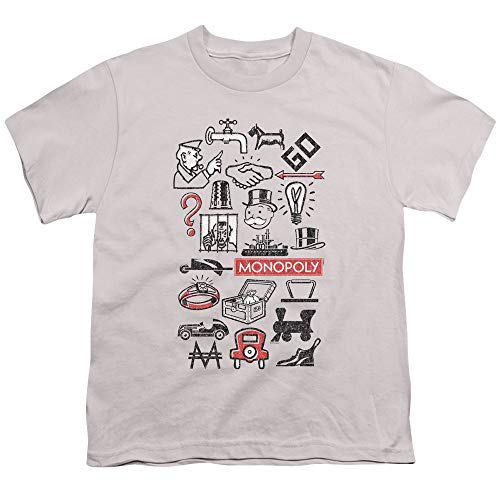 (Monopoly Monopoly Icons Unisex Youth T Shirt for Boys and Girls, X-Large Silver)