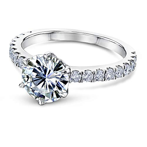 Gold White Mounting Solitaire 14k (2-2/5ct.tw 6-Prong Solitaire Moissanite and Side Stone Classic Engagement Ring 14k White Gold (FG/VS, GH/I1-I2), 9)