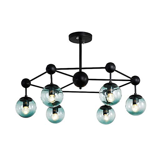 Windsor Home Deco, WH-62792-6, Modern Ceiling Lamp with Glass Lamp Shades, 6 Lights Ceiling Lamp, Ceiling Lamp Flush Mount, Ceiling Lighting, Ceiling Lamp for Bedrooms, Bulb Included