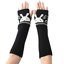 Kingko® Fashion Women's Rabbit Knitted Arm Sleeve Fingerless Winter Gloves Soft Warm Mitten