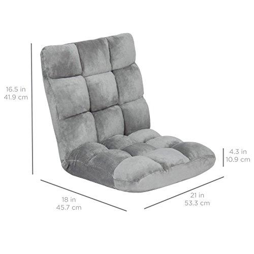 41ICSD9xJGL - Memory Foam Cushioned Floor Gaming Sofa Chair Folding Adjustable - Gray + FREE E-Book
