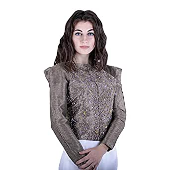 Escale Gold Silk Round Neck Blouse For Women