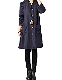 Hole Tide Women's Solid Color V-Neck Cotton & Linen Long Sleeves Blouse Dress